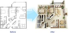 Before and After 3D Floor Plan