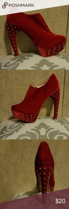 Red booties size 7.5 Worn once red studded booties 4 inch banana heels no box Shoes Ankle Boots & Booties