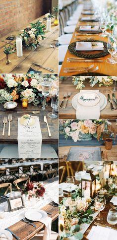 elegant rustic wedding table settings