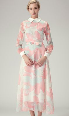 White Sheer Long Sleeve Florals Bowknot Long Dress $59.16