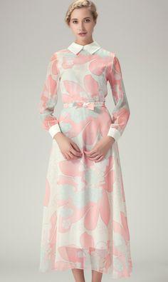 White Sheer Long Sleeve Florals Bowknot Long Dress