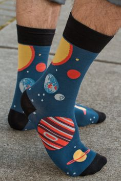 Planets Midcalf - The  knee high version  of these super solar system socks were so popular, Sock It To Me is now offering them as a midcalf!