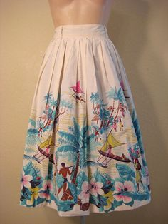 Vintage 50s skirt hawaiian Rockabilly Full by VintageBoxFashions, $100.00