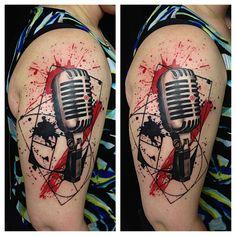 Fun trash polka tattoo