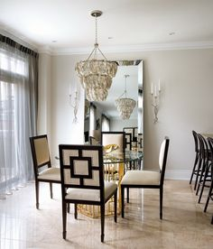 Toronto Interior Design Group Contemporary Gold And Silver Dining Room With Regina Andrew Glass