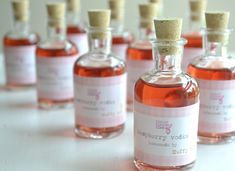 10 mini glass cork bottles for favors. 3.5 inch DIY wedding favours. Demijohn decanter. £14.00, via Etsy.