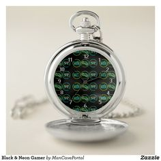 Black & Neon Gamer Pocket Watch Personalized Pocket Watch, Black Neon, Pocket Watches, Personal Shopping, Make A Gift, Cool Watches, Portal, Colorful Backgrounds, Quartz