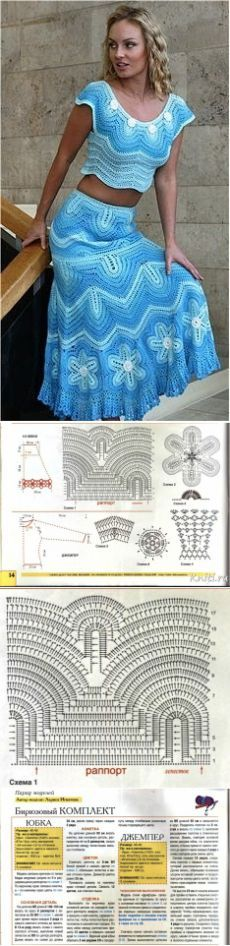 Летние костюмы крючком со схемами. Летний женский костюм крючком. |: