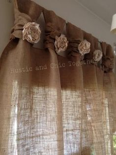 """Té de cortinas de arpillera teñida rosetones - amplia Tabs """"Burlap Curtains- Tea dyed rosettes- Wide Tabs Thank you for stopping by my rustic and chic shop Burlap Curtains, Drapes Curtains, Curtains Living, Nursery Curtains, Yellow Curtains, Striped Curtains, Country Curtains, Blackout Curtains, Layered Curtains"""