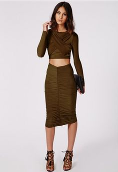 Missguided - Slinky Gathered Midi Skirt Nude | Pieces | Pinterest ...