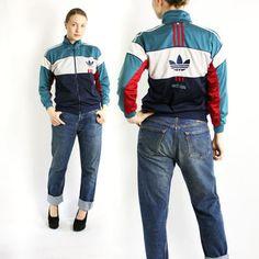 Vintage 80 s 90 s Adidas Green Navy Blue White Red Stripes Sport Track  Jacket, Adidas Windbreaker 385bd2f88abf
