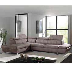 Canapé d'angle marron en tissu MOKA