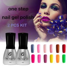 2pc Nail Gel Polish Set One Step 3 In 1 UV Gel Polish Soak Off Color Gel Professional LED Gel Varnish for Nail Art Free Shipping