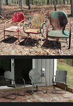 how to paint old and rusty metal outdoor chairs, outdoor furniture, painted furniture, rustic furniture, before and after Painted Metal Chairs, Vintage Metal Chairs, Metal Lawn Chairs, Metal Outdoor Chairs, Paint Metal, Outdoor Paint, Outdoor Seating, Rustic Outdoor, Outdoor Fun