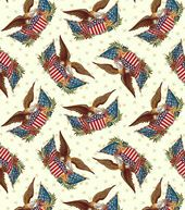 Holiday Inspirations Patriotic Fabric-Eagles & Flags