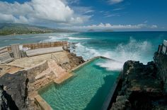 A sea filled pool with crashing surf, Black Point Pool