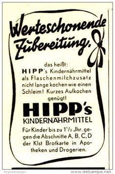 Original-Werbung/ Anzeige 1943 - HIPP'S KINDERNÄHRMITTEL - ca. 45 x 75 mm