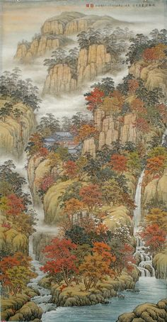 Virtual Museum, best of contemporary visual art, page 41 Chinese Landscape Painting, Chinese Painting, Chinese Art, Landscape Paintings, Traditional Paintings, Traditional Art, Gaia, Waterfall Paintings, Samurai