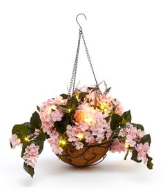 Pink Hydrangea LED Hanging Basket Arrangement