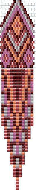 Схема серег с бахромой - мозаичное плетение бисером