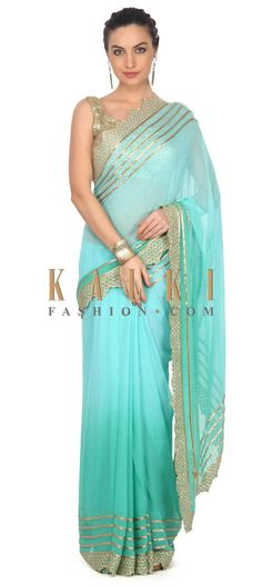 Buy this Shaded saree in turq and sea green with kardana embroidery only on Kalki