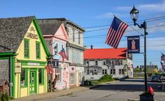 Storefronts in Lubec Maine, easternmost town in the USA