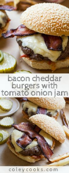 BACON CHEDDAR BURGERS with TOMATO ONION JAM | The best cheeseburgers ever! Smoky bacon, melted sharp cheddar, tangy tomato onion jam - perfection. #burgers #tomatoes | ColeyCooks.com