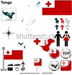 Vector of Tonga set with detailed country shape with region borders, flags and icons