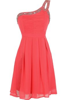 Night Moves Embellished One Shoulder Dress in Coral