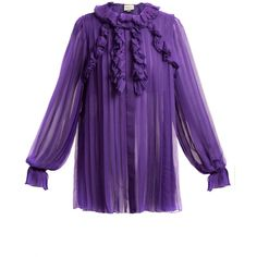 Gucci Pleated ruffle-trimmed silk-chiffon blouse (€2.560) ❤ liked on Polyvore featuring tops, blouses, loose fit blouse, flounce blouse, loose blouse, purple top and purple blouse