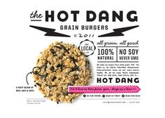 The Hot Dang grain burger packaging, by Make & Matter Website Design Inspiration, Graphic Design Inspiration, Food Inspiration, Creative Inspiration, Design Ideas, Design Poster, Flyer Design, Layout Design, Print Design