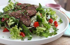 Snelle lekkere Japanse biefstuksalade. www.vertruffelijk.nl
