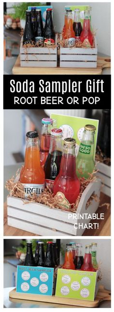 Looking for a super fun gift idea? Fill with a small crate with a variety of bottled sodas for a root beer sampler or soda sampler! Includes printable chart to tuck inside the crate.