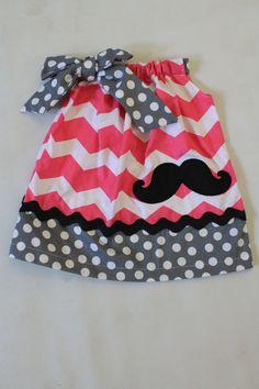 Chevron Mustache dress dress, nb-girls 8 on Etsy, $24.99