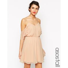 ASOS TALL Cold Shoulder Flutter Sleeve Skater Dress ($30) ❤ liked on Polyvore featuring dresses, nude, cutout shoulder dress, nude dress, strap dress, open back skater dress and draped dress