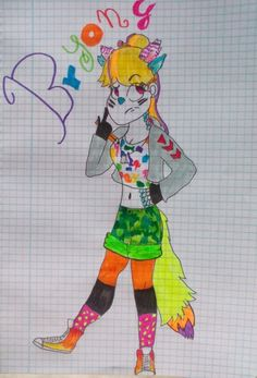 (Sorry for the spam of new ocs im inspired ^-^) This is Bryony,she is an ikn mutant. She is very creative and can do that her draws become real. She is always thinking what to draw. Her eyes changes the color depending of her humor. Her arms and legs are black and the rest of her body is white. Bryony:*go on the k-12*what can i do now?