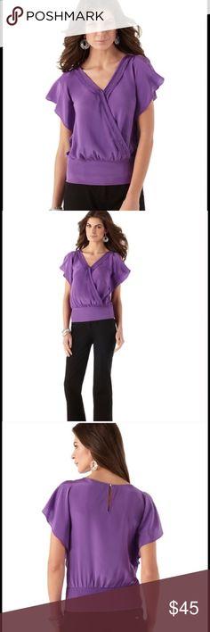 NWT White House Black Market Silk Blouse Soft purple 100% Silk Blouse. Size: L NWT!! White House Black Market Tops Blouses