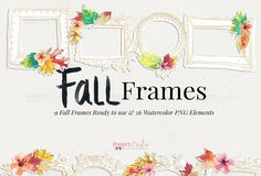 Fall Frames Watercolors by iHeartStudio on @creativemarket