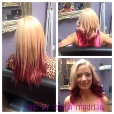 Violet red and blonde two tone color
