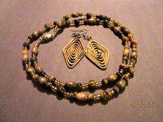 Vintage Genuine Tiger Eye W/wood & Amber Crystal Silver Necklace + Drop Earrings