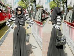 Grey Stripes  |  Dull colours are not so bad! hijab, #hijab