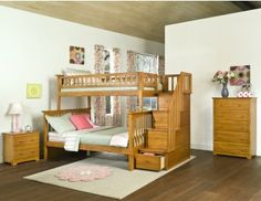 LOVE this bed, would be great for kids in a large bedroom sharing a room! Atlantic Furniture Columbia Staircase Bunk Bed Twin over Full in Caramel Latte Bunk Bed With Slide, Bunk Beds With Storage, Storage Stairs, Kids Storage, Storage Drawers, Staircase Bunk Bed, Bunk Beds With Stairs, Bed Rails, Cool Loft Beds