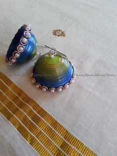 peacock quilled earrings,paper earrings,peacock colored quilled earrings,peacock jhumkas