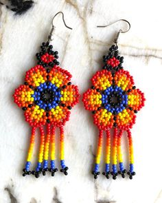 Your place to buy and sell all things handmade Seed Bead Earrings, Beaded Earrings, Seed Beads, Crochet Earrings, Native American Earrings, Native American Beading, Beaded Jewelry Designs, Diy Jewelry Making, Loom Beading