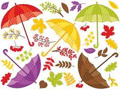 BUY 1 GET 1 FREE  Fall Umbrella Clipart  Digital by TanitaArt