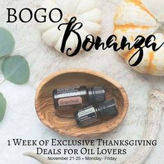 Hey Y'all! I'm doing something I've NEVER done before----> Everyone is on the hunt for good deal right now--especially when it helps you get some of your Holiday shopping done, right?! This week only, I am going to be offering Buy ONE get ONE free essential oil deals! (Including flat rate, or in some cases, FREE shipping!) I will be posting here daily all week-long (Nov. 21-25) giving you a heads up so you know about the special BOGO event and how to use my favorite products.  You do NOT…