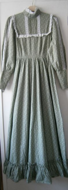 Laura Ashley Dress 12 Vintage 1970s - Green - Edwardian / Victorian /Prairie | eBay