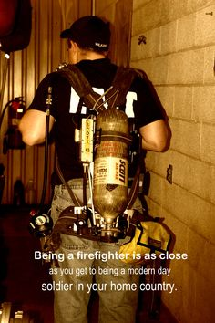 As much as I love being a firefighter and how tough it can be, the work strength and dedication it takes and how unthankful it can be and everything else that comes with it I definitely don't think it is comparable to a being a soldier. Firefighter Paramedic, Firefighter Love, Female Firefighter, Firefighter Quotes, Volunteer Firefighter, American Firefighter, Wildland Firefighter, Fire Dept, Fire Department