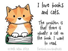 I love books and cats. The problem is that there is usually a cat on the book I want to read. by Beth Wilson