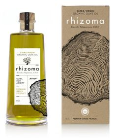 Rhizoma Extra Virgin Organic Olive Oil Design by: www. Olive Oil Packaging, Food Packaging Design, Bottle Packaging, Coffee Packaging, Label Design, Package Design, Design Design, Graphic Design, Olive Oil Bottles